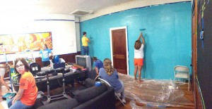 Gardner-Webb students helped paint a local Charleston church's classroom and office during a fall break mission trip.