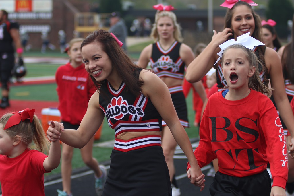 Children from BSCT cheered on with the Runnin' Bulldogs cheerleaders throughout the entirety of Saturday's game. Photo by Megan Hartman.