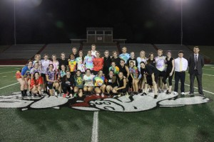The annual powderpuff game took place in Spangler Stadium on Friday, Oct. 9. Photo by Elizabeth Banfield.