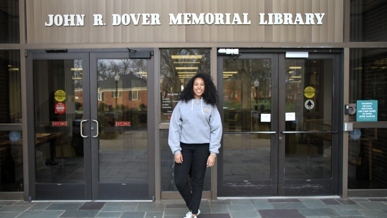 Freshman Rachael Meachem outside of the Dover Memorial Library at Gardner-Webb where her Black History month displays can be seen. Photo by Elizabeth Banfield