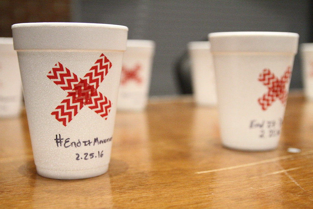 Fair Trade hot chocolate was served in cups with the #enditmovement phrase on it to remind attendees about the organizations desire to raise awareness about modern day slavery.