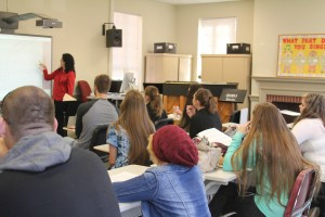 Dr. Patricia Sparti teaches a class of students music. Photo by Tessa Walsh