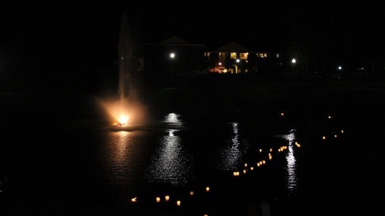 The lanterns floated across lake Hollifield. Photo by Elizabeth Banfield