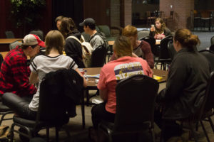Students gather to enjoy breakfast and game night in the Tucker Student Center
